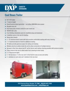 DXP Cool Down Trailer Spec Sheet